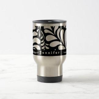 Mod personalised black swirls travel coffee mug