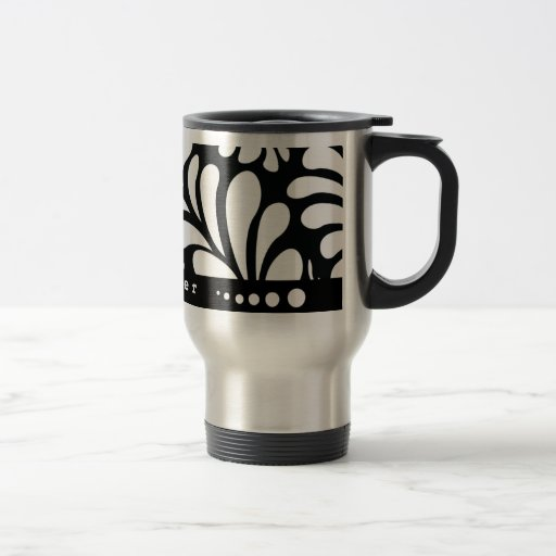 Mod personalized black swirls travel coffee mug