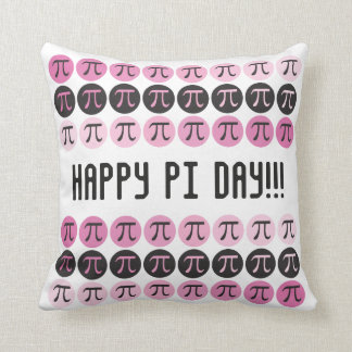 Mod Pi  - Pink and Pi Symbols - Happy Pi Day Gift Cushion