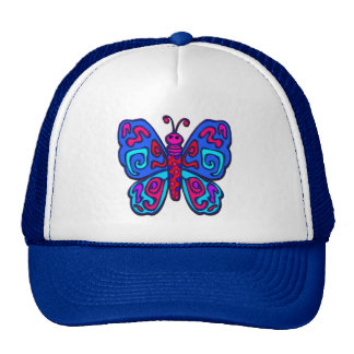 Mod Pink and Blue Butterfly Cap