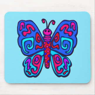 Mod Pink and Blue Butterfly Mouse Pad