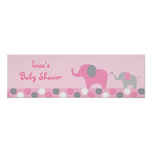 mod pink grey elephant baby shower banner sign zazzle