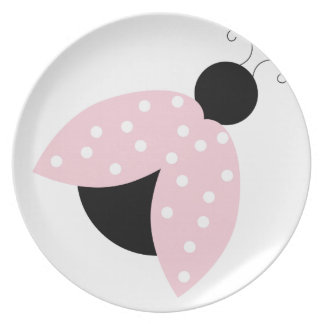 Mod Pink Ladybug Dot Customizable Cute Adorable Plate