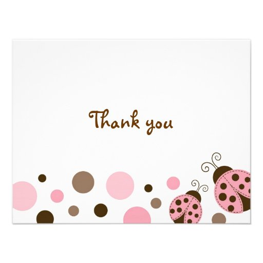 Mod Pink Ladybug Dot Thank You Note Cards Personalised Announcement