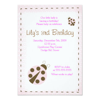 MOD PINK LADYBUG Little lady Birthday Invitation