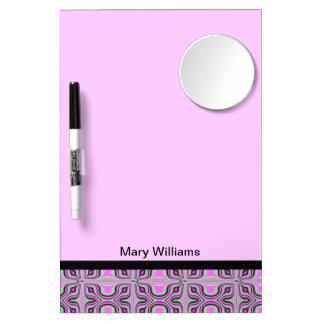 Mod pink pattern design dry erase board with mirror