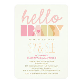 Mod Pink Sip & See Girl Hello Baby Shower Invite
