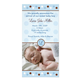 Mod Polka Dots Custom Photo Birth Announcements Customized Photo Card