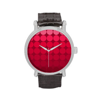 Mod Pop Dots Pink to Red Gradient Circles Wristwatches