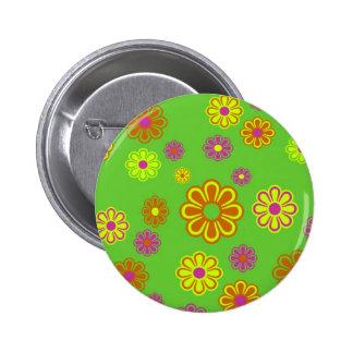 mod pop flowers groovy pinback button