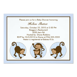 Mod Pop Monkey Baby Shower Invitation
