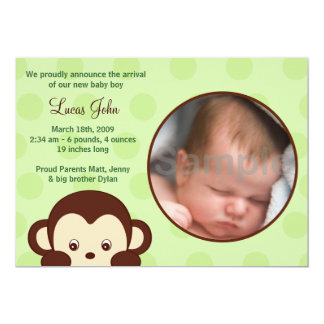Mod Pop  Monkey Custom Photo Birth Announcements