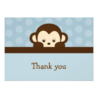 Mod Pop Monkey Flat Thank You Note Cards Custom Announcement