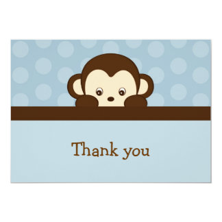 "Mod Pop Monkey Flat Thank You Note Cards 5"" X 7"" Invitation Card"