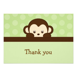 Mod Pop Monkey Flat Thank You Note Cards Invite