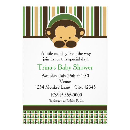 Mod Pop Monkey Jungle Baby Shower Party Invitation