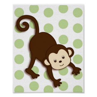 Mod Pop Monkey Nursery Wall Art Print