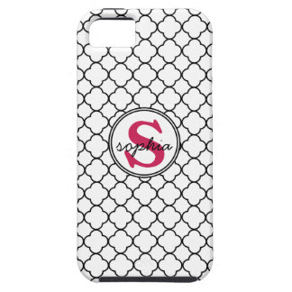 Mod Quatrefoil Pattern with Cute Hot Pink Monogram Case For The iPhone 5