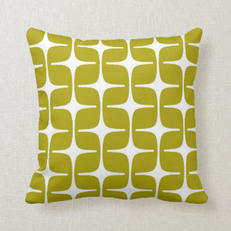 Mod Rectangle Pattern Chartreuse Green White Cushion