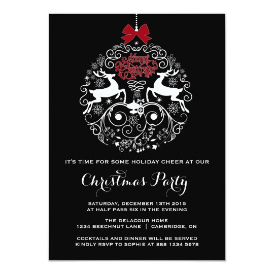 Mod Reindeer Ornament Christmas Party Invitation