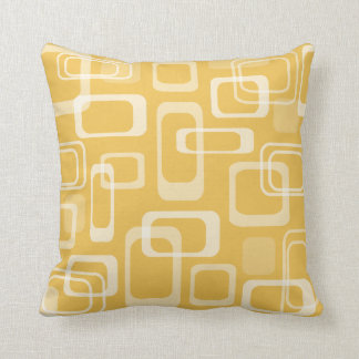 Mod retro print vintage decor yellow throw pillow
