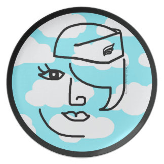 Mod Retro Stewardess Pop Art Design Plate