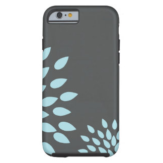 Mod Sky Blue Flower on Gray Background Tough iPhone 6 Case