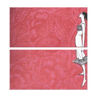 Mod Slip Vintage Lingerie Wall Canvas Set Gallery Wrap Canvas