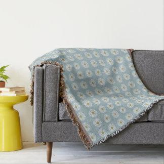 Mod-Soft-Blue-DAISES-Unisex_Bedding-Blanket Throw Blanket