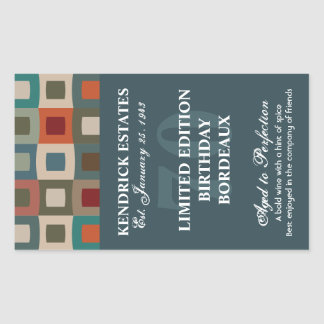 Mod Squares Birthday Wine - Blue (750ml) Rectangular Sticker