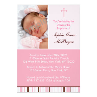 Mod Stripes Pink Custom Baptism Invitations