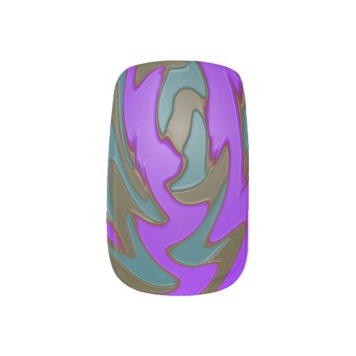 Mod Teal Purple PopArt Abstract Minx ® Nail Art