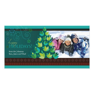 Mod Tree Holiday Photocard - Dark Teal Customized Photo Card