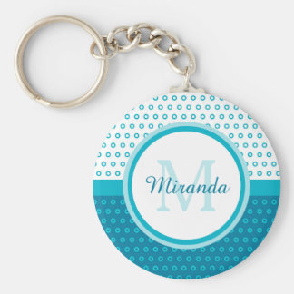 Mod Turquoise Blue Polka Dots Monogram With Name Basic Round Button Key Ring