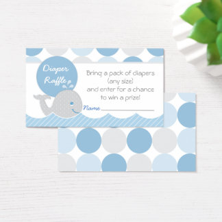 Mod Whale Baby Shower Diaper Raffle Ticket