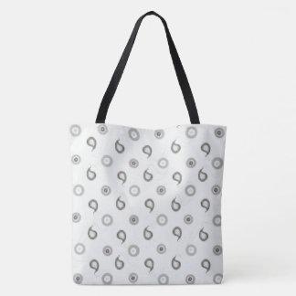 Mod White and Grey Paisley Tote Bag