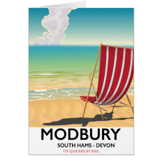Modbury Devon vintage seaside poster Card