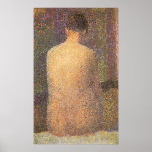 Model From Behind by Seurat, Vintage Pointillism Print
