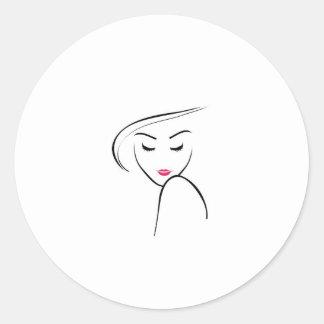 Model in pink lipstick round sticker