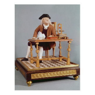 Model of Benjamin Franklin  at his table Postcard