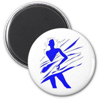 Model of Girl in the blue tones 6 Cm Round Magnet