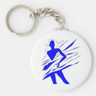 Model of Girl in the blue tones Basic Round Button Key Ring