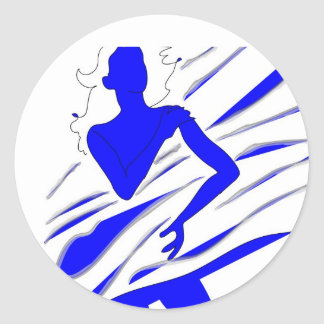 Model of Girl in the blue tones Round Sticker