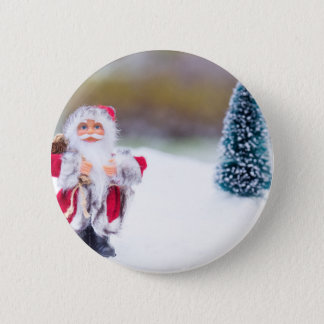 Model of Santa Claus standing in white snow 6 Cm Round Badge