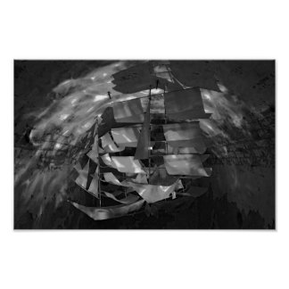 Model Sailboat Black & White Phogograph Poster