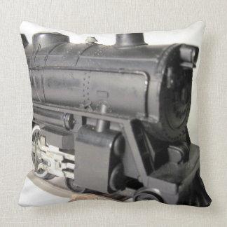 Model Train Engine & Caboose Cotton Throw Pillow