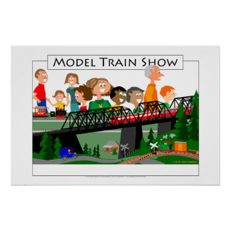 Model Train Show Crowd Poster
