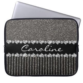 Moden Gray Glitter Personalised Laptop Sleeve