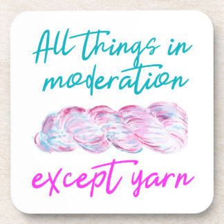 Moderation Except Yarn Funny Crochet Knit Coasters