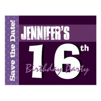 Modern 16th Birthday Save the Date Purple W016B Post Card
